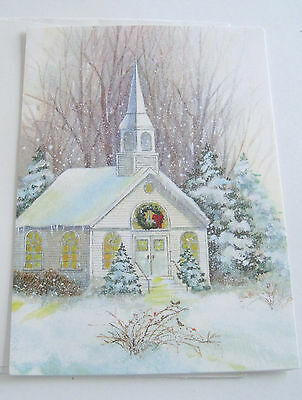 Unused Vtg Christmas Card Old Country Church w Wreath on Door Winter Scene