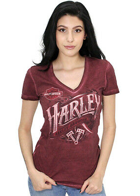 Harley-Davidson Womens Harmonious Oil Wash Red Plum Short Sleeve V-Neck T-Shirt