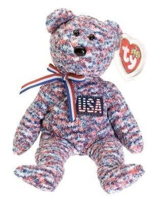"""TY Beanie Babies """"USA"""" the PATRIOTIC FLAG TEDDY BEAR - RETIRED! MUST HAVE"""