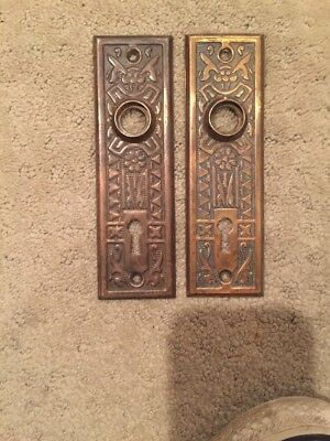 Pair Of Vintage Solid Brass Ornate Gothic Style Door Knob Plates With Keyhole
