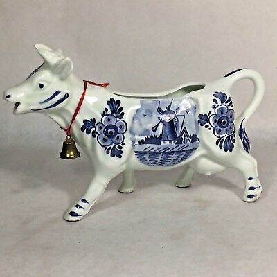 Vtg Porcelain Ceramic Blue Willow Delft Holland Windmill Theme DBL Cow Creamer