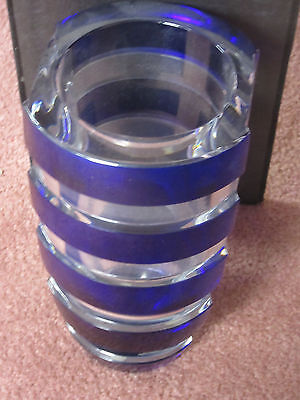 """Baccarat Architecture Blue & clear crystal vase 9 1/2""""tall 5 1/2""""across top new"""