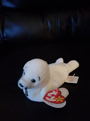 Th Beanie Baby~SEAMORE the White Seal ~ rare with 9 errors~retired