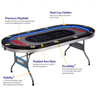 Poker Table Game Play 10 Player Premium In-Laid LED Lights No assembly required