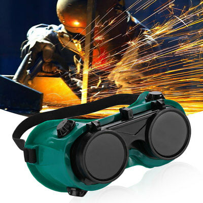 Welding Welders Safety Goggles Glasses Flip Up Dark Lenses Green Protective