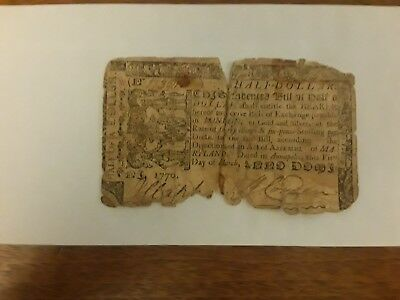 Antique Colonial Currency 1770 Half Dollar Note Annapolis Maryland