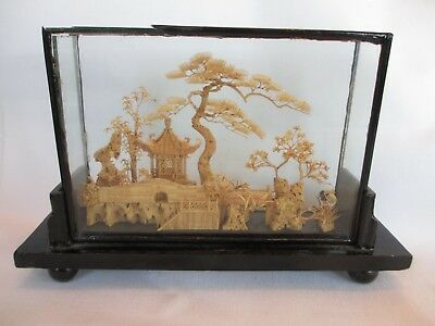VINTAGE CHINESE HAND CARVED CORK ORIGAMI DIORAMA by SAN YOU IN GLASS CASE