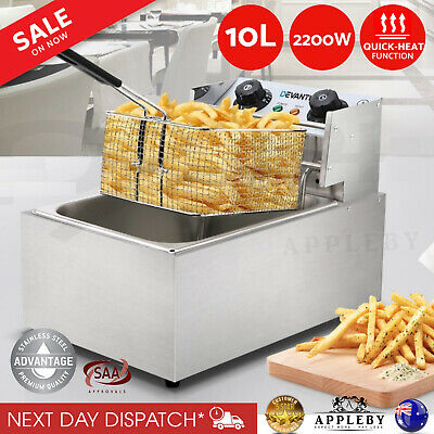 New Commercial Electric Deep Fryer Single Basket Fry Cooker Chip Frying 5 Star