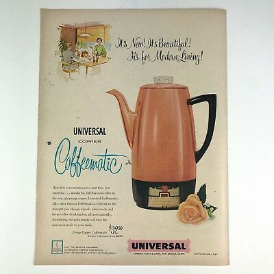 1954 Universal Copper Coffeematic Coffee Maker Vintage Photo Print Magazine Ad
