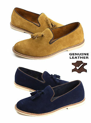 Mens Leather Slip On Shoes Smart Tassel Suade Fashion Loafers Casual