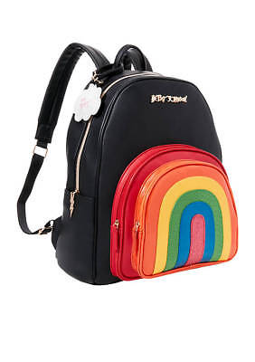 Betsey Johnson Over The Rainbow Backpack School Pride Lgbt Nwt Black Multi New