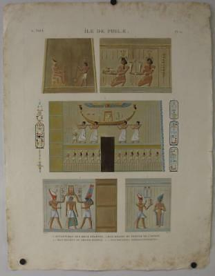 Philæ Temple Of Isis Egypt 1820 Vivant Denon Large Imperial Size Antique Plate