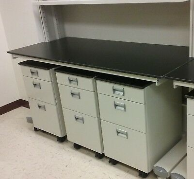 "Steel Mobile Laboratory Cabinet with Black Trespa Top 18"" Wide"