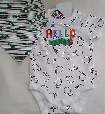 THE VERY HUNGRY CATERPILLAR Licensed bodysuit romper + bib set NEW sizes 000-1