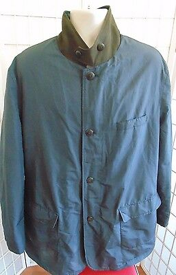 Brooks Brothers Rain Coat/Jacket Navy Blue Button/Zipper Closure Quilted Sz XL