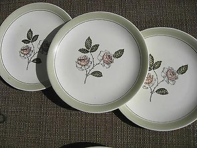 "IVORY QUEEN CROWN DEVON FIELDINGS PLATE 3 salad plates 7"" ROSE ENGLAND"