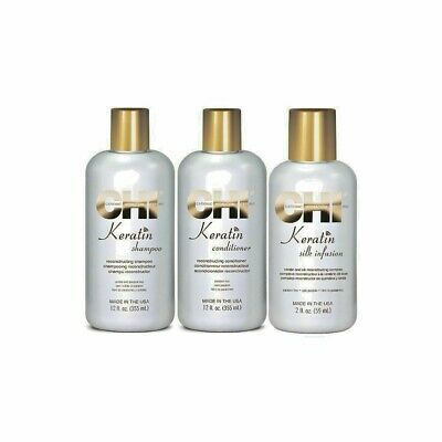 CHI Farouk Keratin 4-tlg. Set.: Shampoo + Conditioner + Leave-in +Silk Infusion