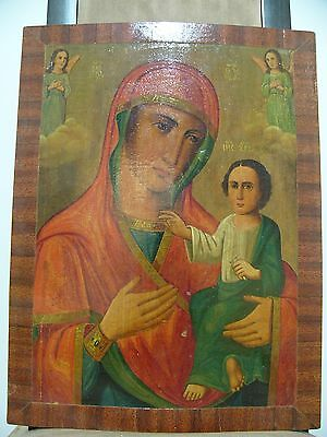 "Antique 19c Russian Orthodox Hand Painted Wood Icon ""The Virgin of Tikhvin"""