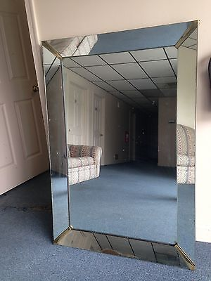 "Large 50"" Antique Vintage Mirror Framed Mirror w/ Brass Corners Beautiful"