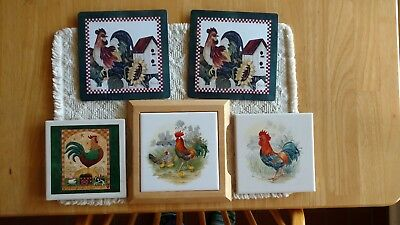 Rooster Trivets - Lot of 5