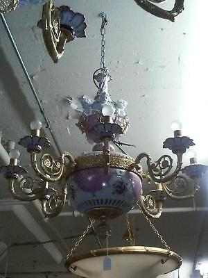 Rare Important Estate Lovely Sevres Style Pink Porcelain Chandelier With Cherubs