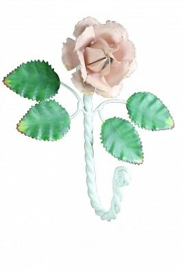 Flower Hook Wrought Iron Multi Colored Pink Rose | Renovator's Supply