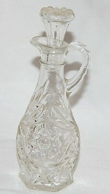 "Vintage Etched Cut Glass Cruet Decanter with Glass Top Stopper 7.5"" Flower Burst"