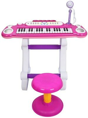 Kids Electronic Piano Keyboard Toy With Microphone and amp; Stool 37 Key Pink