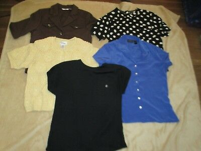 LOT of 5 Women's Blouses Shirts Mixed Brands Liz Claiborne, worthington Sz 8,LG