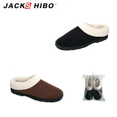 0f65c6637ea74 JACKSHIBO Mens Indoor House Winter Slippers Soft Home Plush Warm Cozy Shoes