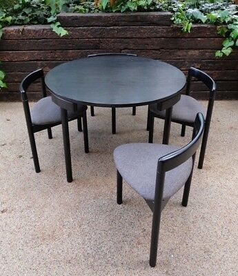 Danish circular dining table + 4 chairs modernist [Hans Olsen, Frem Røjle style]
