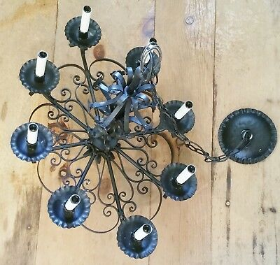 Spanish Revival Antique Classic oval Iron Chandelier 8 Light