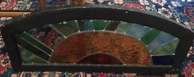 Leaded Stained Glass Transom Window Missing 1 Glass Antique Architectural