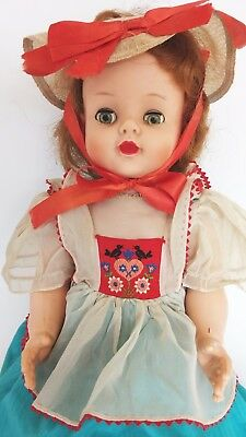 """VINTAGE 1950's EEGEE SUSAN STROLLER 22"""" DOLL in ORIGINAL OUTFIT with CRIER BOX"""