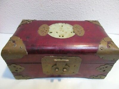Vintage Rosewood Inlayed Jade Chinese Jewelry Box Carved Embellished Brass