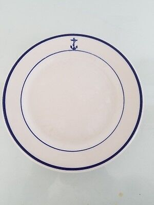 """Shenango China USN US Navy WWII Era Officers Mess Fouled Anchor 7"""" Bread Plate"""