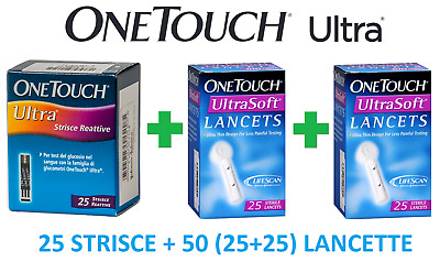 25 STRISCE REATTIVE ONE TOUCH Ultra +50 Lancette PUNGIDITO ONE TOUCH Ultra Soft