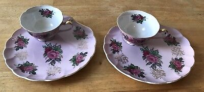 Vintage Set of 2 Lefton China Rose Pink Hand Painted Tea Cup & Snack Trays