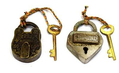 Genuine Old Antique Unique Style Collectible Small Size Padlocks. G2-135.