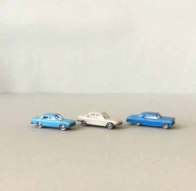 N Scale Vehicles x3, Chevrolet Malibu & 2 Audi 100's for Layouts (Wiking)