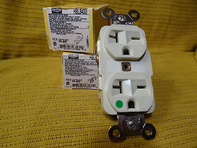 HUBBELL WIRING DEVICE HBL8400I Receptacle, 20A, 250V, 6-20R, 2P, 3W, 1PH Ivory