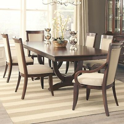 Formal Dark Cognac Dining Table & 6 Chairs Dining Room Furniture Set