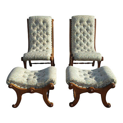 Antique Tufted Carved Wood Parlor/Slipper Accent Chair w/matching Footstools