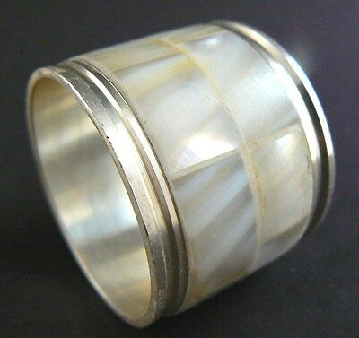 Vintage Metal Napkin Ring Mother of Pearl (9 available) (W4-6)