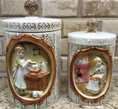 Vintage 1978 Sears And Roebuck Pioneer Woman 2 Piece Canister Set Medium &/Small