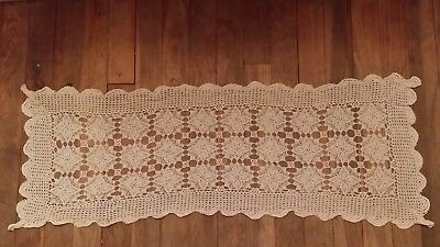 Vintage Hand Crochet Off White Cotton Table Runner Free Shipping