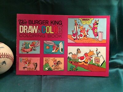 1972 BURGER KING - DRAW & COLOR COLORING BOOK - Vintage KING Mascot New Unused