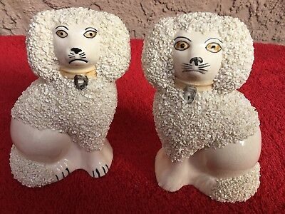 Pair of Antique Numbered Staffordshire Dog Figurines White Poodles w/Sanded Coat