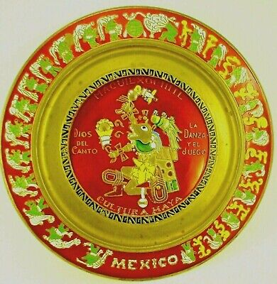 Vintage Enameled Brass Mayan Plaque of Mexico Heritage Red Enamel Mid Century