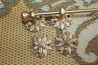 Vintage Towel Bar and Two Towel Hooks Roses Floral Towel Rack, Brass Bar Hooks